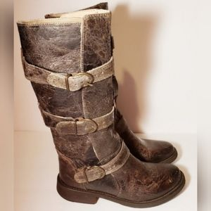 Steve Madden Womens Distressed Leather Buck Boots